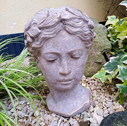 Radami Büste Statue Frau Gartenfigur Steinfigur Steinguss Bronze-Gold