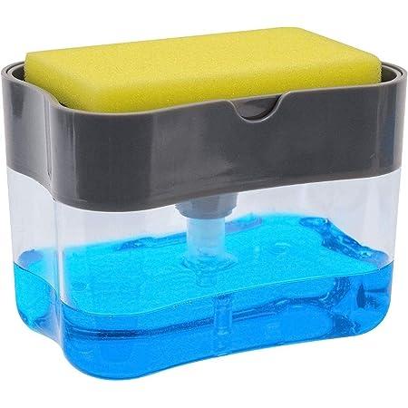 Mastery Dispensador de Jabón para Cocina y Esponja de Regalo 385 ml ; Jabonera para trastes: platos, cubiertos y sartenes. Dosificador de Jabón líquido de Relleno Instantáneo y Resistente a la Corrosión