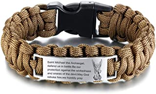 LF Stainless Steel St Michael Cuff Bracelet God Prayers Saint Michael Bracelets Praying St.Michael The Archangel Paracord Rope Bracelets for Boyfriend,Dad,Husband,Son Gift