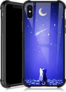 iPhone XR Case,Blue Moon Cat iPhone XR Cases for Girls,Tempered Glass Back Cover Anti Scratch Reinforced Corners Soft TPU Bumper Shockproof Case for iPhone XR Crescent Stars Night