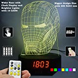 Lampees™ 3D Illusion IronMan Mask Clock LED Lamp with 7 colors change