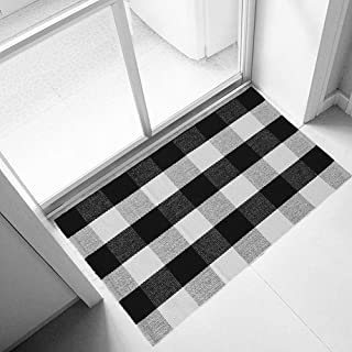 Ukeler Black and White Rug 2×3, Cotton Buffalo Plaid Rugs for Front Porch Machine Washable Cute Farmhouse Layered Door Mats Welcome Doormats Outdoor Front Porch Rugs