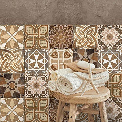 32 piezas Azulejo adhesivo 15x15 cm PS00146 Mosaico de Azulejos Adhesivo de pared Adhesivo decorativo para azulejos de cemento para baño y cocina Adhesivos de cemento pelar y pegar