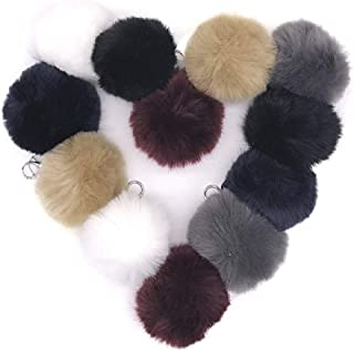 Kelly's Luxury SOft Faux Fox Fur Pom Pom Keychain Bag Purse Charm Silver Ring Fluffy Fur Ball PACK OF 12