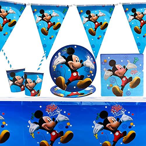 Yisscen Juego de Vajilla para Fiesta, Fiesta de cumpleaños de Mickey, Decoración de Cumpleaños para Niños, Suministros de Fiesta de Mickey Mouse, Platos, Tazas, Servilletas, Mantel