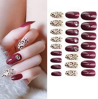 Sethexy Leopard Print False Nails Rhinestone Full Cover 3D Bling Art Design 24Pcs Fake Nails for Women and Girls