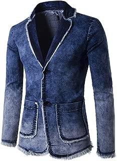 Men's Cardigan Wash Vintage Denim Jacket Long Sleeve Coat Top Suit Blazer for Weddings Party Dinner Prom Banquet