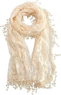 MissShorthair Floral Print Lace Scarfs for Women with Fringes