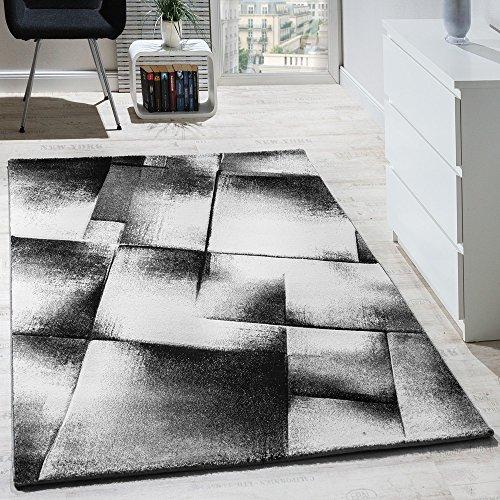 Paco Home Tapis Design Moderne Salon Tapis Poils Ras Chiné Gris Crème Noir, Dimension:60x100 cm
