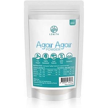 [LENITH] Agar Agar | Powder | Vegetable | Gelatin Powder | Dietary Fiber | Seaweed | Thickener | Vegan | Vegetarian | Non-GMO | Gluten-free | Desserts (Powder 4 Ounce)