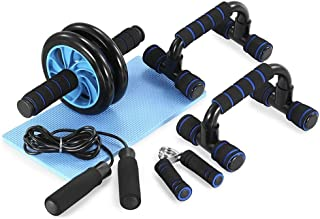 U-HOOME AB Wheel Roller Abdominal Trainer Kit with Push Up Bar Hand Gripper Knee Pad for Abs Fitness Workout