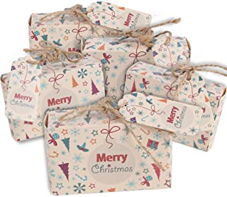 VGOODALL 50pcs Christmas Suitcase Favor Box Party Favor Candy Box, Christmas Kraft Paper with Tags and Burlap Twine for Christmas Themed Party/Bridal Shower Decoration