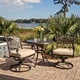 Hanover TRADITIONS3PCSW Traditions 3-Piece Aluminum Rust-Free Patio Bistro Set Outdoor Furniture,...
