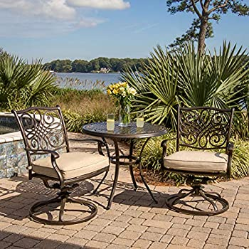Hanover TRADITIONS3PCSW Traditions 3-Piece Aluminum Rust-Free Patio Bistro Set Outdoor Furniture Size 1 Tan