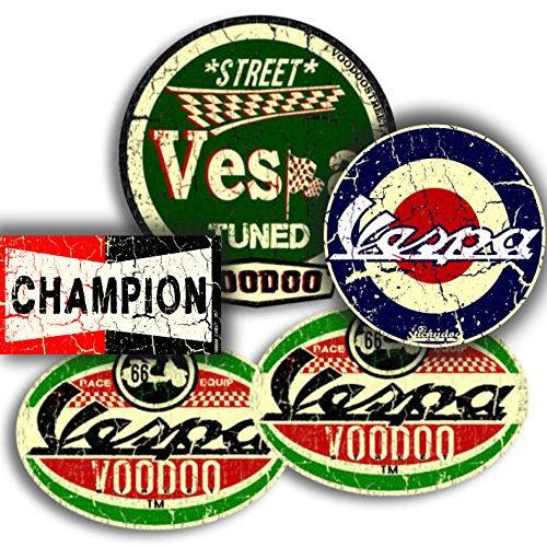 Pack de 4 adhesivos Vespa y 1 adhesivo de Champion