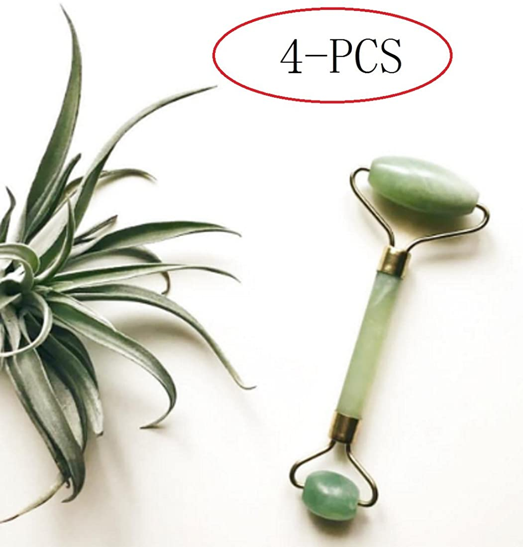 モッキンバードその後欺Echo & Kern 4点翡翠フェイスマッサジローラー 4pcs Double head Jade Stone Derma Roller