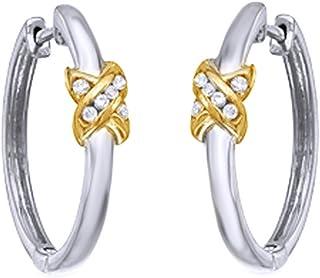 Orecchini a cerchio per donne e ragazze, taglio rotondo, in argento Sterling 925 (oro 18 carati)