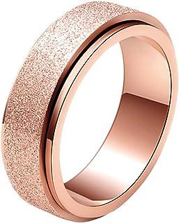 SINLEO Women's Men's 6MM Fashion Stainless Steel Spinner Ring Sand Blast Finish Lucky Wedding Band