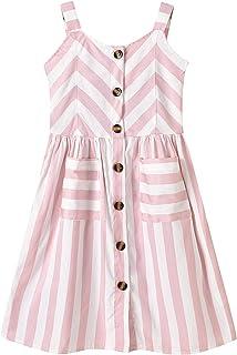 inlzdz Vestidos de Princesa Chica Vestido Corto Plisado de Tirantes con Rayas Niñas Niños Ropa Niña Verano Casual 3-10Años