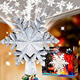 Christmas Tree Topper Lighted with Snowflake Projector,LED Rotating Snowflake, 3D Sliver...
