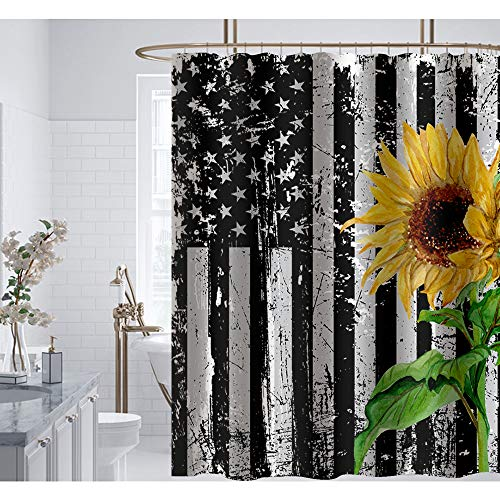 Irongarden Sonnenblumen-Duschvorhang Wildblume altschwarz & weiß, amerikanische Flagge, wasserdichtes Polyestergewebe, Badezimmer-Dekor mit Haken, Set 183 x 183 cm