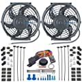 """American Volt Dual Reversible 12V Electric Engine Radiator Cooling Fan & Adjustable Thermostat Switch Kit (10"""" Inch)"""