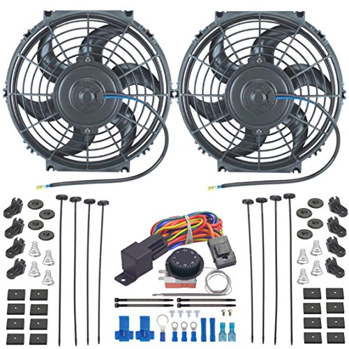 American Volt Dual Reversible 12V Electric Engine Radiator Cooling Fan & Adjustable Thermostat Switch Kit (10