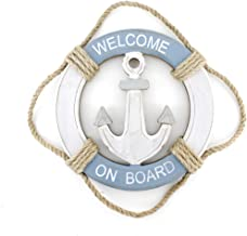 Wooden Nautical Life Ring Wall and Door Hanging Ornament Plaque,Welcome On Board,11.6