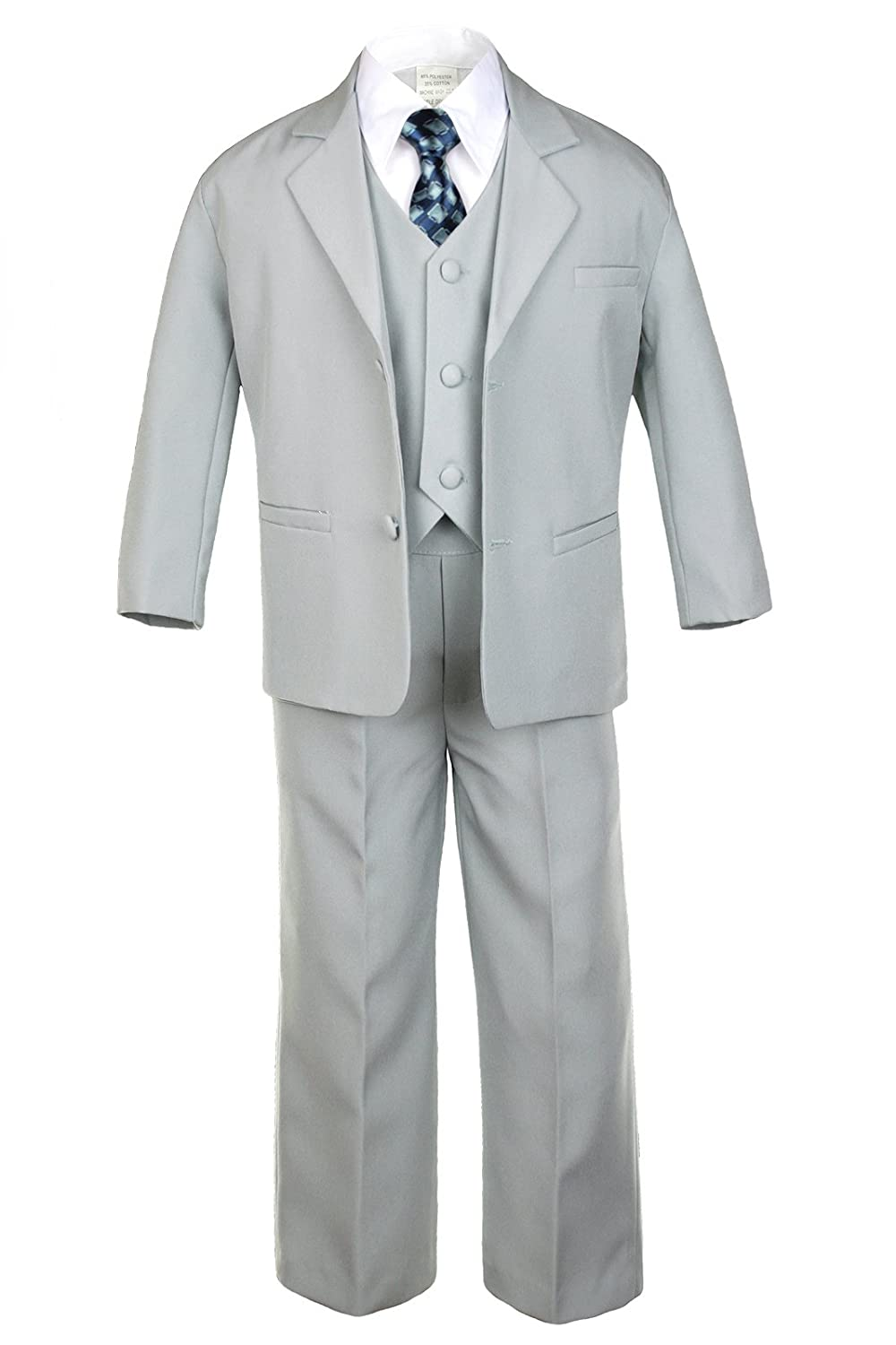 Boys Silver Tuxedo Suits with Super intense Challenge the lowest price SALE Geometric Satin Necktie Baby from