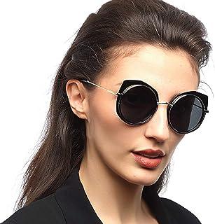 Fashion Round Frame Glasses UV400 Protection Classic Fashion New Ladies Polarized Sunglasses Retro (Color : Black)