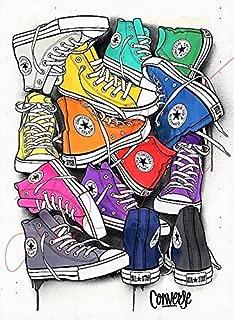 Converse Shoes Wall Art Illustration Footwear PRINT, hand drawn fashion artwork Card Matte stack pile shoe multicolour colourful #CONVERSE1