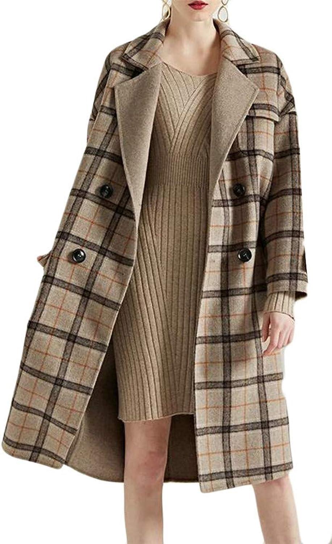 Pcutrone Women Premium Lapel Neck Pocket DoubleBreasted Plaid Overcoat Wool Blend Coat Jacket