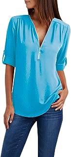 TUSANG Women Tees Ladies Zipper Button Long Sleeves Loose Chiffon Shirt Clothing Solid Color Casual Comfy Tunic
