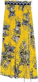 Cubierta de Playa para Mujer Las Mujeres Cubren la impresión fluida Bikini Traje de baño Beach Cover Up Chaleco Traje de baño Traje de baño Falda de Playa (Color : Amarillo, tamaño : S)