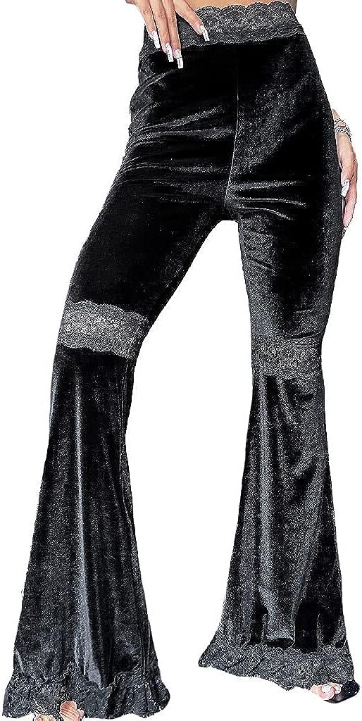 Nihsatin Women's High Waist Ranking TOP14 Soft Velvet Comfy Gypsy Pants 2021 model Flare
