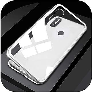 Wvnkx for Redmi Note 5 6 7 Pro 6Aガラスメタルマグネットカバーfor Xiaomi Mi 8 Lite 9 SE 6X A2 F1ケース用360磁気フリップカバー-Transparent White-for Redmi Note 7