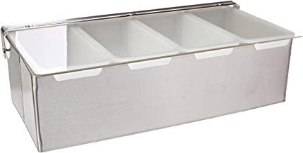 New Star Foodservice 48025 Stainless Steel Condiment Dispenser with 4 Compartments