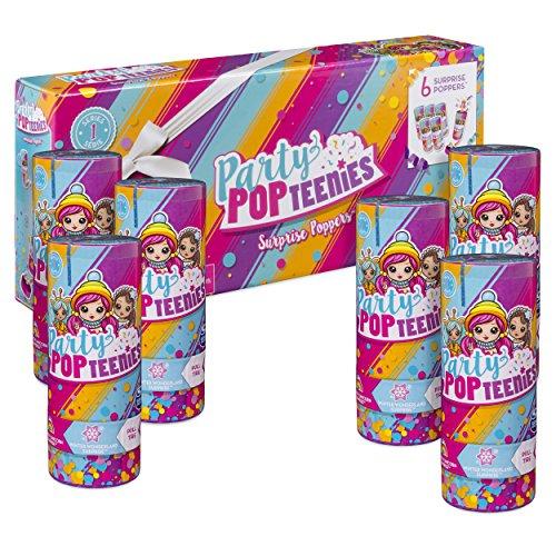 Party Popteenies Party Pack - 6 Överraskningspinnare med konfetti, minisamlingsrullar och tillbehör, för barn från 4 år