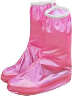 ELECTROPRIME Women Anti-Slip Flat Zippered Waterproof Rain Shoes Cover Pair