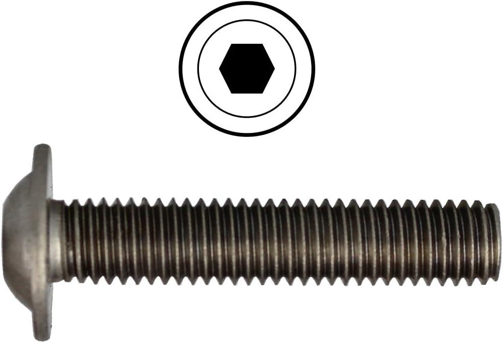 | Flachkopfschrauben 10 St/ück rostfrei DERING Linsenkopfschrauben M10 X 22//22 mit Innensechskant ISO 7380 Edelstahl A2