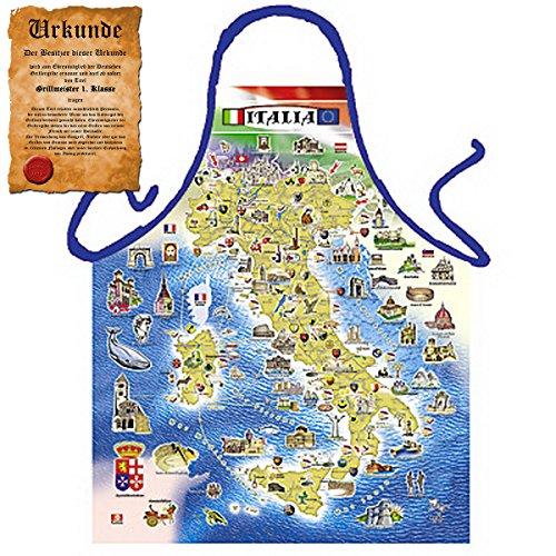 Tini - Shirts Grillschürze mit Italienischer Landkarte : Italian Map GRATIS Urkunde!! One Size