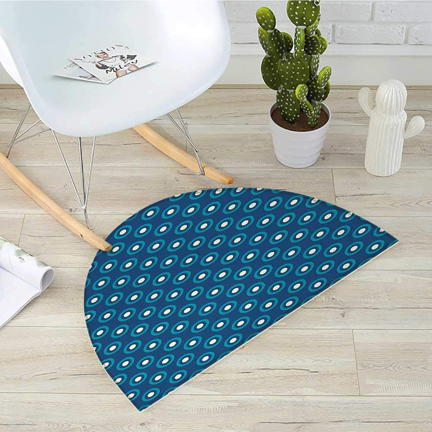 Navy and White Half Round Door mats Circles with White Polka Dots Ancestral Folk Evil Eye Style Tile Bathroom Mat H 39.3  xD 59  Dark bluee Teal White