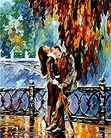 大人のための数字でペイントKidsOil絵画キット大人のための子供ペイント数字でペイントビーチDIY絵画数字でアクリルペイント絵画キットホームウォールリビングルームベッドルーム(抽象的な男性と女性の恋人)