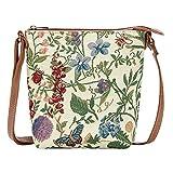 Signare Tapestry Small Crossbody Bag Sling Bag for Women with Sunflower Poppy Butterfly Dragonfly Morning Garden Design (SLING -MGD)