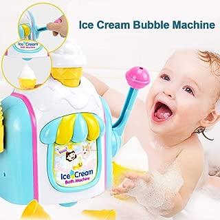 Roche.Z Bubble Bath Toys, Toy Ice Cream Maker Bubble Foam Play Machine Bathtub Toys Foam Cone Factory Baby Bath Toy Ice Cream Themed Bubble Making Toy Pretend Play for Children