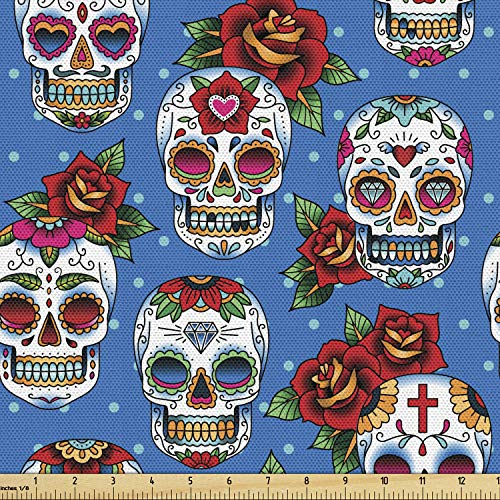 Ambesonne Sugar Skull Fabric by The Yard, Pattern Skulls and Roses in Floral Mexican Style Ornaments Print, Decorative Fabric for Upholstery and Home Accents, 1 Yard, Ivory Blue