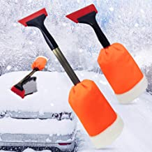 Ice Scrapers for Car Windshield with Mitt, Telescopic Snow Shovel with Anti-Slip Foam Handle and Warm Glove for Freezer, Heavy-Duty Winter Frost Removal Clean Tools for Car Auto SUV Scratch-Free