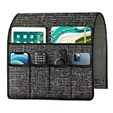 Joywell Thick Linen Sofa Arm Chair Caddy Armrest Organizer, Remote Control Holder for Recliner Couch with 6 Pockets for Magazine, Tablet, Phone, iPad, Dark Grey