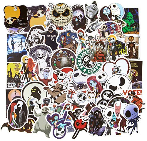 50Pcs Halloween Stickers, Nightmare Before Christmas Stickers for Water Bottles Skateboard Computer Laptop Stickers for Teens Vinyl Waterproof Stickers Motorcycle, Bicycle, Graffiti Patches Decal