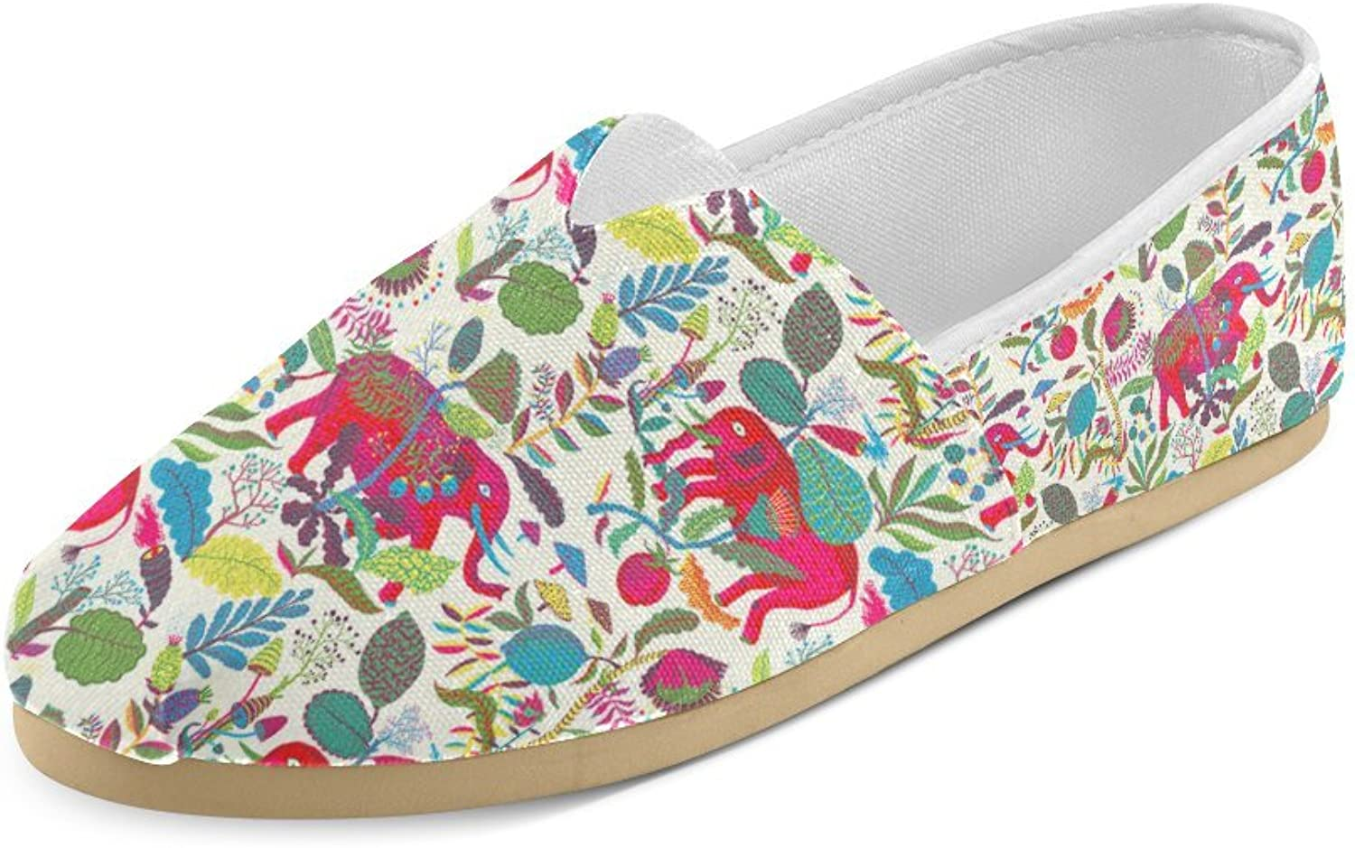 HUANGDAISY Unisex shoes colorful Elephants Pattern Casual Canvas Loafers for Bia Kids Girl Or Men